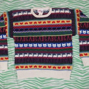 Vintage sweater w Cats ABCs and bunnies S NWT